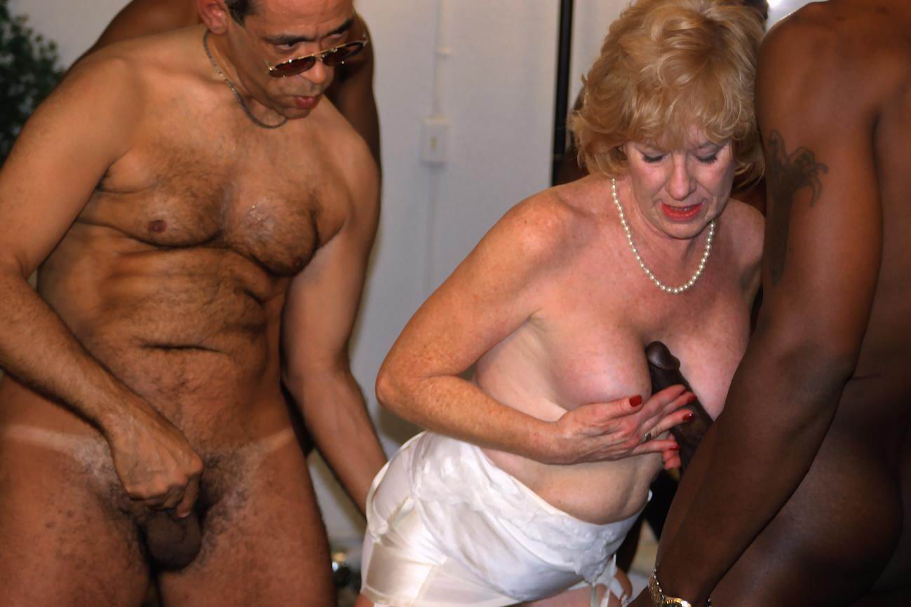 Hairy blonde interracial anal